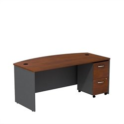 Bush BBF Series C 72W x 36D Bowfront Shell Desk with Mobile Pedestal in Hansen Cherry