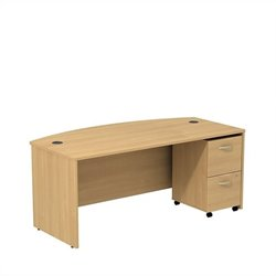 Bush BBF Series C 72W x 36D Bowfront Shell Desk with Mobile Pedestal in Light Oak