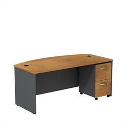 Bush BBF Series C 72W x 36D Bowfront Shell Desk with Mobile Pedestal in Natural Cherry