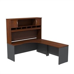 Bush BBF Series C 72W x 24D RH Corner Desk with Hutch in Hansen Cherry