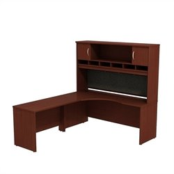 Bush BBF Series C 72W x 24D LH Corner Desk with Hutch in Mahogany
