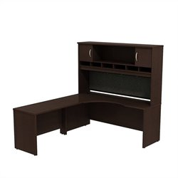 Bush BBF Series C 72W x 24D LH Corner Desk with Hutch in Mocha Cherry