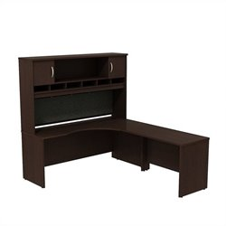 Bush BBF Series C 72W x 24D RH Corner Desk with Hutch in Mocha Cherry