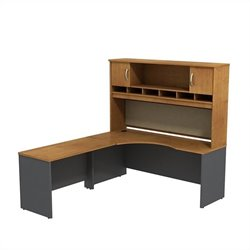 Bush BBF Series C 72W x 24D LH Corner Desk with Hutch in Natural Cherry