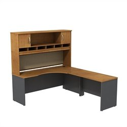 Bush BBF Series C 72W x 24D RH Corner Desk with Hutch in Natural Cherry