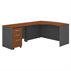Bush BBF Series C 60W x 43D LH L-Desk with 3Dwr Mobile Pedestal in Auburn Maple