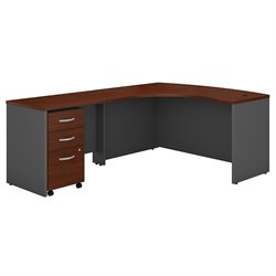 Bush BBF Series C 60W x 43D LH L-Desk with 3Dwr Mobile Pedestal in Hansen Cherry