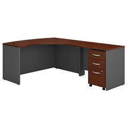 Bush BBF Series C 60W x 43D RH L-Desk with 3Dwr Mobile Pedestal in Hansen Cherry