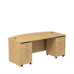 Bush BBF Series C 72W x 36D Bowfront Shell Desk with 3Dwr Mobile Pedestals in Light Oak