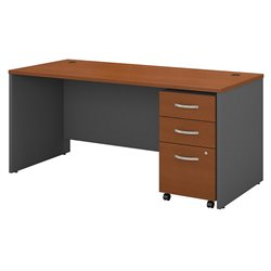 Bush BBF Series C 66W x 30D Shell Desk with 3Dwr Mobile Pedestal in Auburn Maple