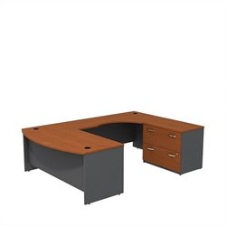 Bush BBF Series C 72W x 36D Bowfront Desk in RH U-Station with Lateral File in Auburn Maple