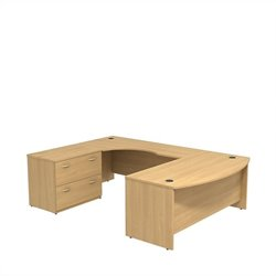 Bush BBF Series C 72W x 36D Bowfront Desk in LH U-Station with Lateral File in Light Oak