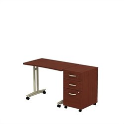 Bush BBF Series C Adjustable Table with Pedestal in Mahogany
