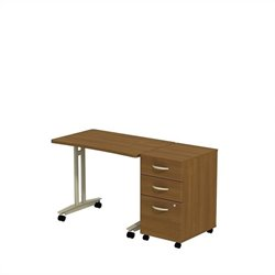 Bush BBF Series C Adjustable Table with Pedestal in Warm Oak