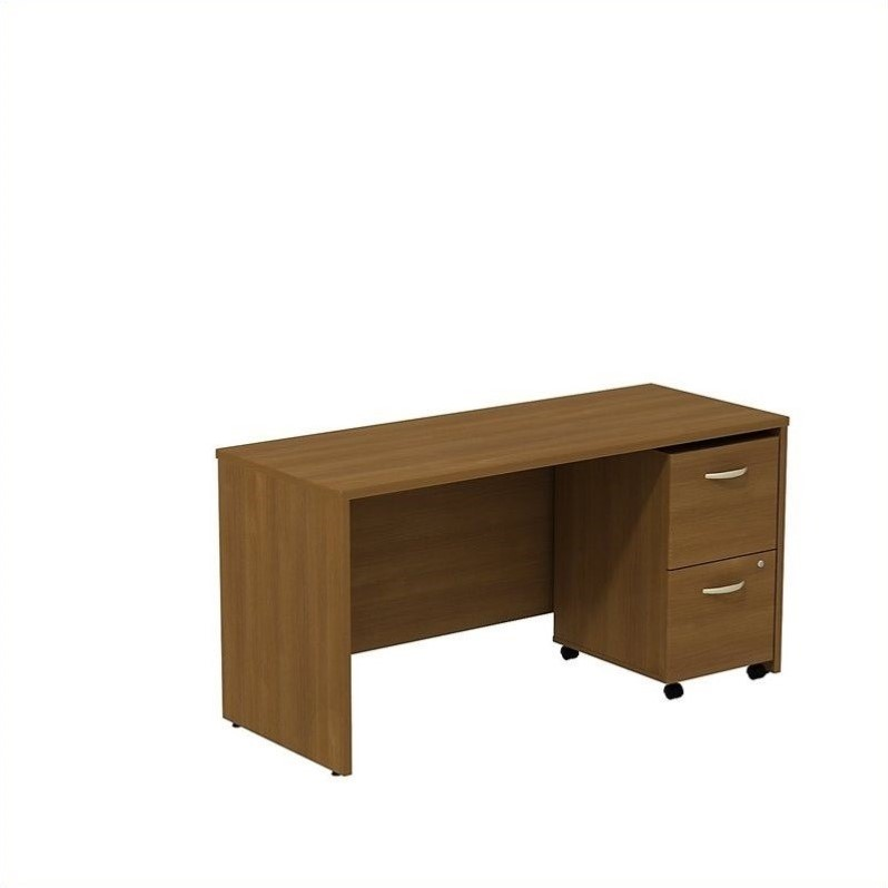 Bush BBF Series C 60W x 24D Credenza Shell Desk with 2Dwr Mobile Pedestal in Warm Oak