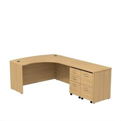 Bush BBF Series C 60W x 43D Bowfront RH L-Desk with 2 -Mobile Pedestals in Light Oak