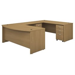 Bush BBF Series C 72W x 36D Bowfront U-Station with 2 - Mobile Pedestals in Light Oak