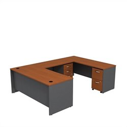 Bush BBF Series C 72W x 30D U-Station with 2 - Mobile Pedestals in Auburn Maple