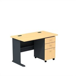 Bush BBF Series A 48W Desk with 3Dwr Mobile Pedestal (Assembled) in Beech