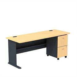 Bush BBF Series A 72W Desk with 2Dwr Mobile Pedestal (Assembled) in Beech