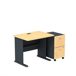 Bush BBF Series A 36W Desk with 2Dwr Mobile Pedestal (Assembled) in Beech