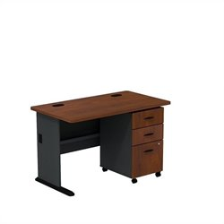 Bush BBF Series A 48W Desk with 3Dwr Mobile Pedestal (Assembled) in Hansen Cherry