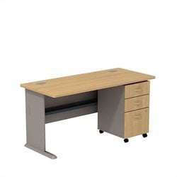 Bush BBF Series A 60W X 27D Desk with 3Dwr mobile Pedestal in Light Oak