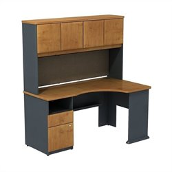 Bush BBF Series A Expandable Desk with Hutch Storage in Natural Cherry
