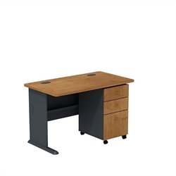 Bush BBF Series A 48W Desk with 3Dwr Mobile Pedestal (Assembled) in Natural Cherry