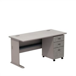 Bush BBF Series A 60W X 27D Desk with 3Dwr mobile Pedestal in Pewter