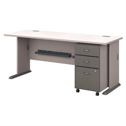 Bush BBF Series A 72W Desk with 3Dwr Mobile Pedestal (Assembled) in Pewter