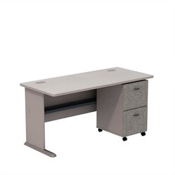 Bush BBF Series A 60W Desk with 2Dwr Mobile Pedestal (Assembled) in Pewter
