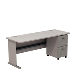 Bush BBF Series A 72W Desk with 2Dwr Mobile Pedestal (Assembled) in Pewter