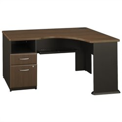 Bush BBF Series A Expandable Single 2Dwr Pedestal Corner Desk in Sienna Walnut