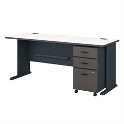 Bush BBF Series A 72W Desk with 3Dwr Mobile Pedestal (Assembled) in Slate