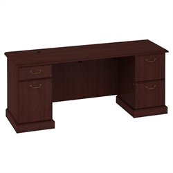Bush BBF Syndicate Double Pedestal Kneespace Credenza in Harvest Cherry