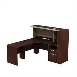 Bush BBF Quantum Left Corner Desk with Storage in Harvest Cherry