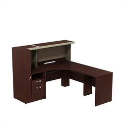Bush BBF Quantum Right Corner Desk with Storage in Harvest Cherry