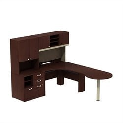 Bush BBF Quantum Right L-Shaped Workstation in Harvest Cherry