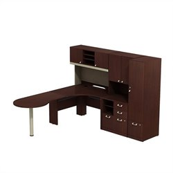Bush Business Furniture Quantum LH L Shaped Workstation Harvest Cherry
