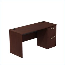 Bush BBF Quantum 60W X 24D Single Pedestal Desk Credenza 2Dwr in Harvest Cherry