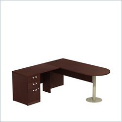 Bush BBF Quantum 72W X 30D LH Peninsula L-Desk and 3Dwr Pedestal in Harvest Cherry