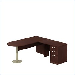 Bush BBF Quantum 72W X 30D RH Peninsula L-Desk and 3Dwr Pedestal in Harvest Cherry