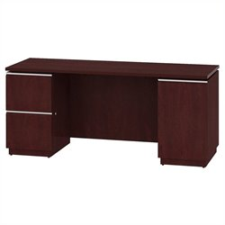 Bush BBF Milano2 66W Double Pedestal Kneespace Credenza in Harvest Cherry