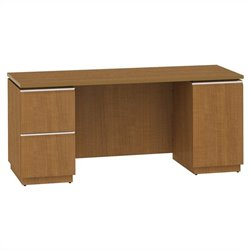 Bush BBF Milano2 66W Double Pedestal Kneespace Credenza in Golden Anigre