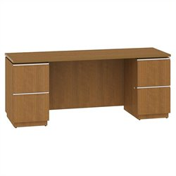 Bush BBF Milano2 72W Double Pedestal Kneespace Credenza in Golden Anigre