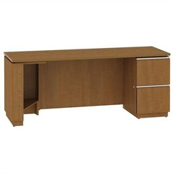 Bush BBF Milano2 72W RH Single Pedestal Credenza 2Dwr in Golden Anigre