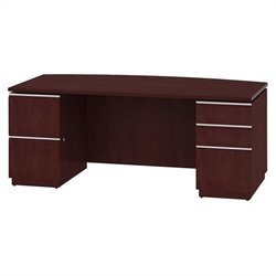 Bush BBF Milano2 72W Bow Front Double Pedestal Desk in Harvest Cherry