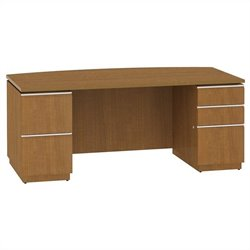 Bush BBF Milano2 72W Bow Front Double Pedestal Desk in Golden Anigre