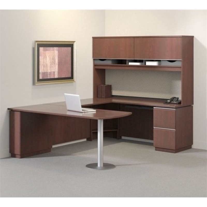 Bush Business Milano2 72W LH Pedestal Bow Front Desk in Harvest Cherry